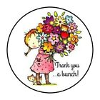 48 CUTE THANK YOU GIRL FLOWERS STICKER LABEL ENVELOPE SEALS 12 ROUND
