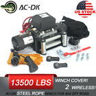 AC DK 12V 13500LBS Electric Winch Steel Cable Off Road Jeep Truck Towing Trailer