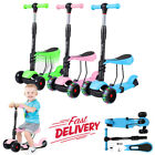 3 in 1 Kick Children Scooter With Light Up Wheels Sports Gift For Kids Toddlers