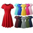 Women Ladies Short Sleeve Causal Tunic Top Solid T-Shirt Skater Swing Mini Dress