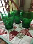 3 Forest Green Vintage Anchor Hocking Glass Flat 9 oz Fancy Tumblers