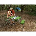 Kelsyus Ogo Table Green Tabletop and Bench Seating In One Camping