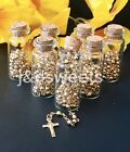 12 PC Glass Bottle Gold Rosary Baptism Favors Boy Girl Recuerdos Bautizo Rosario