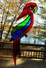 Vintage Stained Glass Macaw Parrot Sun Catcher Real Glass Large 15 Exotic Bird