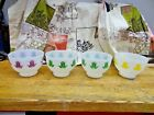 *Vintage Fire-King OVEN WARE MILK GLASS TULIP PRINT  BOWLS LOT OF {4} MIX COLORS