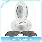 2X Front Discs Brake  4X Rotors Ceramic Pads For Jeep Cherokee Vented Drilled