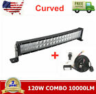 120W 22in 4D Optical Curved Led Light Bar Combo + Remote Control Wiring Harness