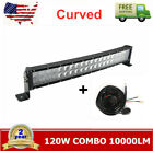 120W 22in 4D Optical Curved Led Light Bar Combo 23 + Switch Wiring Harness kit
