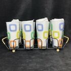 Vintage Set 8 Drinking Glasses with Carrier Kitch Geometric Tumblers Pastels