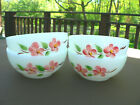 Vtg FIRE KING Set 4 Pink Peach Blossom Cereal/Chili Bowls 1950 1960 Made in USA!