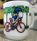 Anchor Hocking Fire King 1958 SNOOPY Milk Glass Mug PEDAL POWER Bicycle