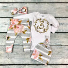 US 3PCS Newborn Baby Girl Clothes Shorts Sleeve Romper Tops Flower Pants Outfit