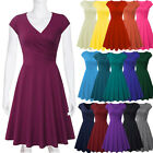 US Women Summer Cotton Blend Short Sleeve Casual V-Neck Swing Midi A Line Dress