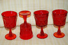 NORITAKE PERSPECTIVE Ruby red Amberina water goblets 4
