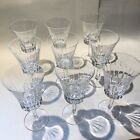 Mint Set Of 9 Richelieu Rondo GORHAM Crystal Cut Glass Wine Glasses 60s 70s