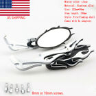 Chrome Flame Rearview Mirrors for Harley Motorcycle Cruiser Chopper Custom US