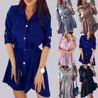 Women Long Sleeve Cotton Tie Down Blouse Shirt Casual Loose Mini Dress Clearance