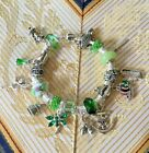 TINKERBELL Disney Bracelet Euro style Green Silver 22 Beads  charms PETER PAN