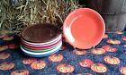 Set 8 SALAD PLATE chocolate flamingo scarlet poppy white FIESTA WARE 7.25