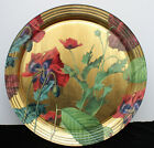 Scott Potter Red Poppies Decoupage Ribbed Gold Plate