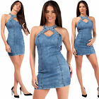 Womens Summer Vintage Denim Stretch Bodycon Jeans High Neck Mini Party Dress UK