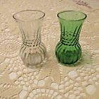Pair Vintage Anchor Hocking Forest Green/Clear Ribbed Glass Vase