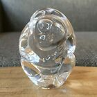 250 Steuben Glass Monkey Hand Cooler Paperweight Signed Figurine Clear Crystal