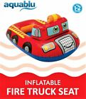 Aquablu Inflatable Fire Truck Cool Summertime Swim Seat  Float Toy for Pool