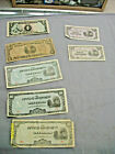 Group of 8 Japanese Government Occupation notes 10 pesos 50 10 51 centavos