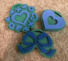 Chunky Stamps Foam Stamper Lot Of 3 Hearts Bow Ribbon