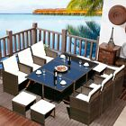 11 Pcs Patio Furniture Wicker Rattan Outdoor Pool Dining Table Cushion Seat Set