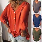 Womens Summer 3 4 Sleeve Back Buttons T Shirts Plus Size V Neck Solid Top Blouse