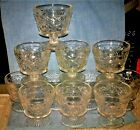 11~ HAZEL ATLAS 50's CLEAR GLASS GOTHIC BIG TOP PEANUT BUTTER CHAMPAGNE SHERBET