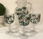 ACRYLIC Tropical Palm Trees Outdoor WINE GLASSES 3 + PITCHER