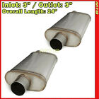 Stainless Steel Straight Thru Race Exhaust Mufflers 3 inch Offset In Out 256259
