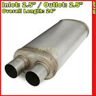 Stainless Steel Race Exhaust Muffler 25 inch Two Outlets Offset Inlet 256310