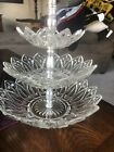 Vintage Clear Glass Crystal  3-tier Serving-Tidbit Party Tray/Dish