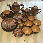 TT Japan Handpainted Satsuma Dragonware Tea Set Pot Moriage Gold 30Piece Vintage