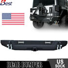 Newest For Jeep Wrangler JK Textured Rear Bumper With Hitch Receiver+2XLed Light