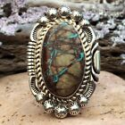 LARGE NATIVE AMERICAN NAVAJO ROYSTON RIBBON TURQUOISE STERLING SILVER RING WOW