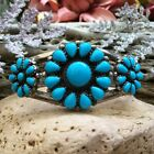 NAVAJO ZUNI NATIVE AMERICAN STERLING SILVER TURQUOISE CLUSTER CUFF BRACELET WOW