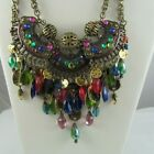Ethnic BIB NECKLACE Colorful Glass Stones Brass Large Statement Piece