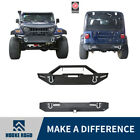 Front Rear Bumper w 4 Lights  4 D Rings Steel For Jeep Wrangler 1987 2006 TJ YJ
