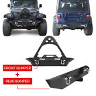 Hooke Road Front Rear Bumper w Winch Plate Steel For 87 06 Jeep Wrangler TJ YJ