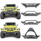 Front Bumper w 2x LED Lights  Winch Plate Textured For Jeep Wrangler 97 06 TJ