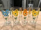 Set of 4 SOUR CREAM Drinking GLASSES DAISY FLOWER Retro PRISTINE Condition 1Pint