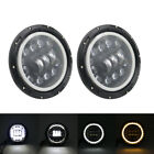7 Halo LED Headlight DRL Turn Signal Angel Eyes for Jeep TJ JK CJ LJ Land Rover