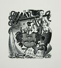 EX LIBRIS Bookplate Mark SEVERIN 113 Graseman woman ship heraldic fish sexy