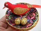 2 Vintage Bird Clip On Christmas Ornaments Red Flocked Gold Glitter Spun Tails