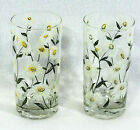 2 CERA Vtg White Daisy Flowers Glasses 12 oz Ice Tea Tumbler Highball 5-1/2
